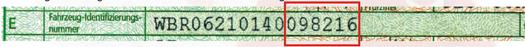 Fahrzeug-Identifizierungsnummer WBR