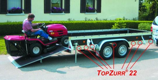 Typ PKL - Pkw-Anhänger gewerbl. Ausführung mit TopZurr®22 + faltbare Auffahrklappe